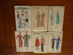 Lot of 6 50s Patterns Uncut 31+3.94 8bds 5/10/14 Advance8309 Blouse, V6522 Dress back drape,etc