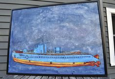 """Deep"" Submarine painting underwater. Painted on wood by Folk Artist Rob Johnston"