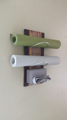3 Tier Cobalt Ash II Wall mounted yoga mat by WuduWarehouse