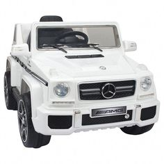 Licensed Mercedes Battery Powered Ride On Kids Car White Remote Control Mercedes G63, Work Music, Off Grid Batteries, Kids Ride On, Ride On Toys, Lead Acid Battery, Lamborghini Aventador, Vehicles, Leather