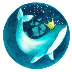 Original watercolor illustration. Magic Queen Whale. Cosmic animal. Cetaceans and stars . Super cute art. Fine art. by CasalsJuanola on Etsy