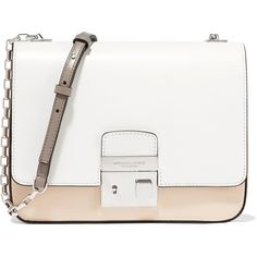 Michael Kors Collection Two-tone leather shoulder bag (£341) ❤ liked on Polyvore featuring bags, handbags, shoulder bags, white, white leather handbags, white shoulder bag, genuine leather handbags, shoulder handbags and leather shoulder handbags