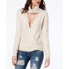 Guess Reversible Cowl-Neck Cutout Sweater ($45) ❤ liked on Polyvore featuring tops, sweaters, heather light oatmeal, white cowl neck sweater, cut-out shoulder tops, drape sweater, white top and cowl neck sweaters