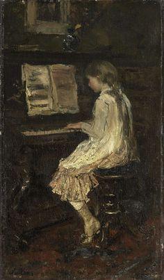 Jacob Maris | Girl at the Piano, Jacob Maris, c. 1879 | Een meisje spelend aan de piano, gezien van opzij. Boven de piano hangt een schilderij.