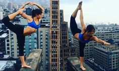 In a nail-biting video posted on Sunday, dancer Rachele Brooke Smith practices yoga poses high up on a building ledge, balancing on one foot while leaning precariously over the edge.