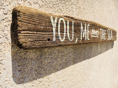 """Beach decor Driftwood 52"""" You, Me and The Sea Sign Nautical Distressed by SEASTYLE"""