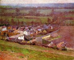 Theodore Robinson (American, 1852-1896), [Old Lyme Colony, Impressionism] Bird's Eye View: Giverny, 1889.