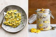 Two Breakfasts: Herb and goat cheese scramble & Overnight mango oatmeal Almond Milk Cheese, Milk And Cheese, Goat Cheese, Second Breakfast, Breakfast Ideas, Clean Eating, Healthy Eating, Overnight Oatmeal, Fresh Herbs
