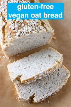 This Gluten-Free Vegan Oat Bread is nutty, slightly chewy and unbelievably easy to make! It's also no-knead, yeast-free and completely free from sugar! Gluten Free Oat Bread, Gluten Free Baking, Gluten Free Recipes, Baking Recipes, Bread Recipes, Gluten Free Oatmeal Bread Machine Recipe, Glutenfree Bread Recipe, Simple Gluten Free Bread Recipe, Oat Bread Recipe Gluten Free