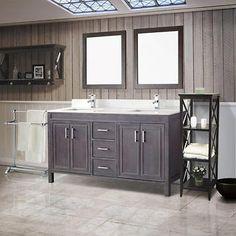 "Corniche 60"" French Gray Double Sink Vanity By Studio Bathe"