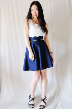 Navy blue scallop waist skirt with neon piping - high waisted, half circle skirt