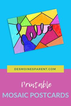 Miss your friends and families? Print off, color and send these fun mosaic postcards to friends and family near and far. These are perfect for all ages! Indoor Activities For Kids, Kid Activities, Miss You Friend, Family Print, Fox Design, Writing Skills, First Names, Mom And Dad, Postcards