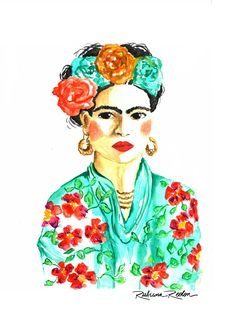 Art by Rubiana Reolon #girl #pastelseco #watercolor #flowers #illustration #art #botanic #botanical #frida #fridakhalo