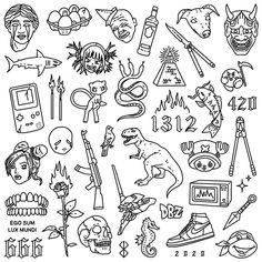Flash Art Tattoos, Dope Tattoos, Mini Tattoos, Tattoo Flash Sheet, Little Tattoos, Small Tattoos, Tatoos, Retro Tattoos, Rebellen Tattoo