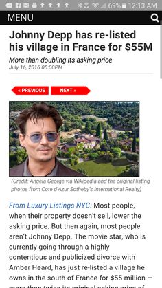Johnny Depp, France Village Relisted For 55 Million! – THE BIGGEST NEWS Big News, Johnny Depp, News Today, Gossip, Nyc, France, The Originals, French Resources, New York City