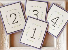 Lavender Watercolor Table Numbers - Sunshine and Ravioli