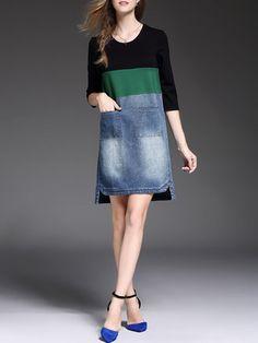 Plain High Low Half Sleeve Denim Paneled Casual Midi Dress