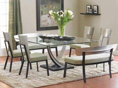 Furniture , Square Dining Table Designs Furniture : Modern Glass Top Square Dining Table Designs With Modern Chairs And White Seats