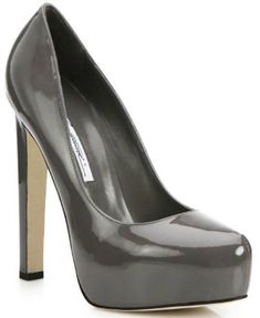 "Brian Atwood ""Maniac"" Patent Leather Platform Pumps in Grey #brianatwoodheelspatentleather"
