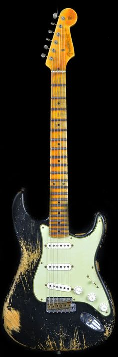 Wild West Guitars : Fender 1956 Stratocaster Heavy Relic AA Flame Maple Neck Black