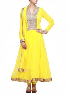 Yellow anarkali suit with sequence work