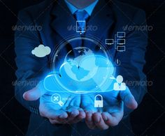 businessman hand cloud 3d icon on touch screen computer as Inter
