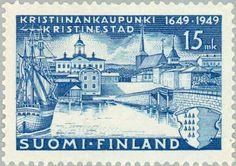 Stamp: Kristiinankaupunki (Kristinestad) (Finland) Year City of Kristiinankaupunki) Mi:FI 379 12th Century, Foil Stamping, Name Cards, Postage Stamps, Game Art, Westerns, History, City, Prints