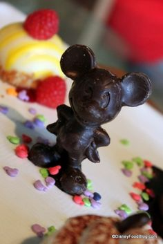 Love the chocolate Mickey Mouse who stands in the center of the dessert sampler at Grand Floridian Cafe!