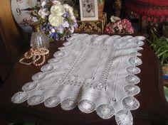 "Stunning Vintage Teneriff Lace Thread Work White Tray Cloth 17""x11.5"""