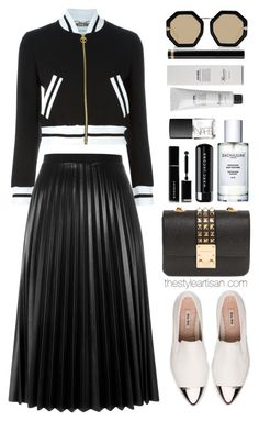 """Moschino cropped bomber jacket"" by thestyleartisan ❤ liked on Polyvore featuring Moschino, Design Inverso, Miu Miu, Karen Walker, Givenchy, Baxter of California, NARS Cosmetics, Marc Jacobs, Gucci and Aviù"