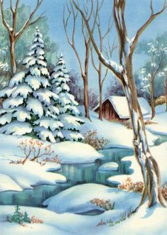 Shadows in winter art Winter Painting, Winter Art, Winter Pictures, Christmas Pictures, Christmas Scenes, Christmas Art, Seasonal Image, Winter Images, Winter Wallpaper