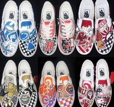 Custom college shoes made to order! All schools/styles available. Work with me to create a design perfect for you! Choose from a range of shoe styles. Custom Vans Shoes, Custom Painted Shoes, Painted Vans, Painted Sneakers, Hand Painted Shoes, College Shoes, School Shoes, Cute Vans, Vanz