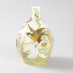 """Rozenburg, Den Haag, """"Eggshell"""" Porcelain vase, painted."""