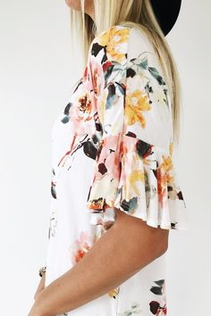 Ivory Floral Blouse   ROOLEE