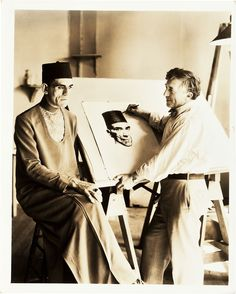 Boris Karloff being sketched for The Mummy by Basil Gogos.