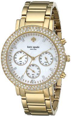 836912874f89 Amazon.com  kate spade new york Women s 1YRU0561 Gramercy Grand Watch with  23k Yellow Gold Ion-Plated Bracelet  Watches