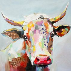 50 Bessie The Cow Stretched Canvas Decorative Wall Art - StyleCraft, Multi-Colored Cow Painting, Oil Painting On Canvas, Cow Art, Canvas Artwork, Acrylic Art, Painting Inspiration, Wall Art Decor, Art Projects, Stretched Canvas