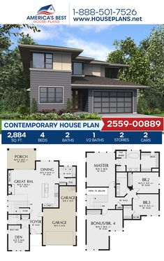 Plan 2559-00889 details a 2,884 sq. ft. Contemporary home design complete with 4 bedrooms, 2.5 bathrooms, a kitchen island, an open floor plan, a bonus room, and a 2 car garage. #contemporaryhome #twostoryhome #openfloorplan #architecture #houseplans #housedesign #homedesign #homedesigns #architecturalplans #newconstruction #floorplans #dreamhome #dreamhouseplans #abhouseplans #besthouseplans #newhome #newhouse #homesweethome #buildingahome #buildahome #residentialplans #residentialhome Best House Plans, Dream House Plans, Contemporary House Plans, Two Story Homes, Flat Roof, Open Floor, Car Garage, Innovation Design, New Construction