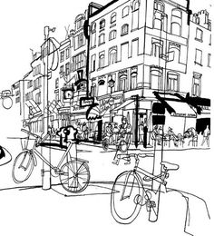 lucinda rogers drawing black and white cityscape bicycles street scene dictionary of urbanism Building Illustration, City Illustration, Illustration Styles, Medical Illustration, Black And White Sketches, Black And White Illustration, Landscape Drawings, Architecture Drawings, City Sketch