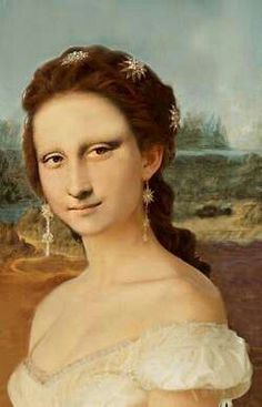 Mona in white Dress -- Mona Lisa Parodies Real Mona Lisa, Mona Lisa Smile, Lisa Gherardini, Street Art, La Madone, Mona Lisa Parody, Famous Artwork, American Gothic, Classical Art