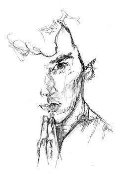 baskervilleain: Quick pen sketch, pen tip. ref from The Hounds of Baskerville Portrait Sketches, Drawing Sketches, Pelo Color Violin, Sherlock Drawing, Scribble Art, Sketchbook Drawings, Pen Sketch, Silhouette Art, Urban Sketching