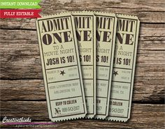 Ticket invitation templates printable ticket invitations with