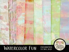Watercolor Paint Digital Paper Pack   Painted by ClikchicDesign