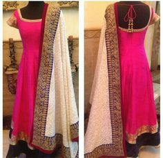 I don't know if I like the pink so bright but I do love the style with the contrasting dupatta! Get this made for yourself in your favourite color tailored to your measurements and delivered to your house. To know more visit www. Red Lehenga, Anarkali Dress, Pakistani Dresses, Indian Dresses, Lehenga Choli, Anarkali Suits, White Anarkali, Lehenga Suit, Indian Anarkali