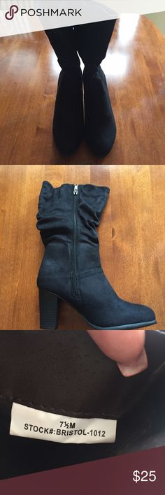 NWOB Black Faux Suede Boots. Size 7 1/2. NWOB Black Faux Suede Boots. Size 7 1/2. 3 inch heel. Mid calf. Shoes Heeled Boots