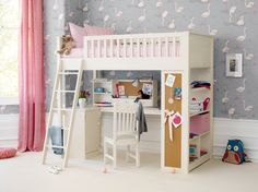 A cabin bed styled for little girls