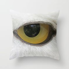 In the eye of a snow owl Throw Pillow by Pirmin Nohr. Worldwide shipping available at Society6.com. Just one of millions of high quality products available.