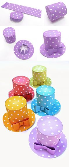 Make 5 stunning Mini polka dot hats! Easy No-Sew patterns!