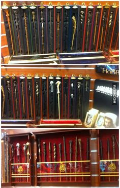 Meanwhile in a store in Germany... all Harry Potter wands. They even have the scarfs of each house