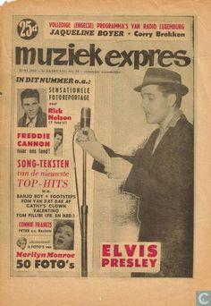Dutch Weekly 1960, Muziek Expres - Muziek Expres 54 Vintage Concert Posters, Vintage Posters, Music Magazines, Album Book, Jim Morrison, Do You Remember, Vintage Photographs, Elvis Presley, Rock And Roll